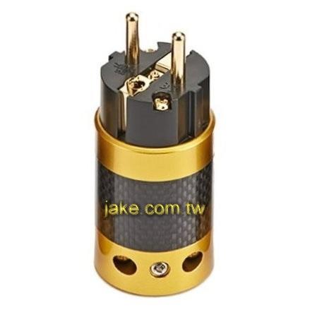 金色烤漆,碳纖維外殼,鍍金Schuko德規音響級電源插頭
