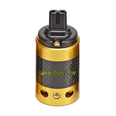 金色烤漆,碳纖維外殼,鍍金IEC C7歐規音響級電源插座