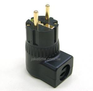 德規90度直角電源插頭 電鍍24K金